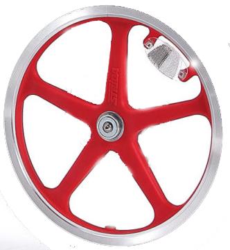 16 inch rode glasvezel versterkt kunststof spaakwiel velg STRIDA LT achterwiel - 16 inch - 16 inch - 448-lt-16-spoke-red-rear - 5 spaken - rood - wiel